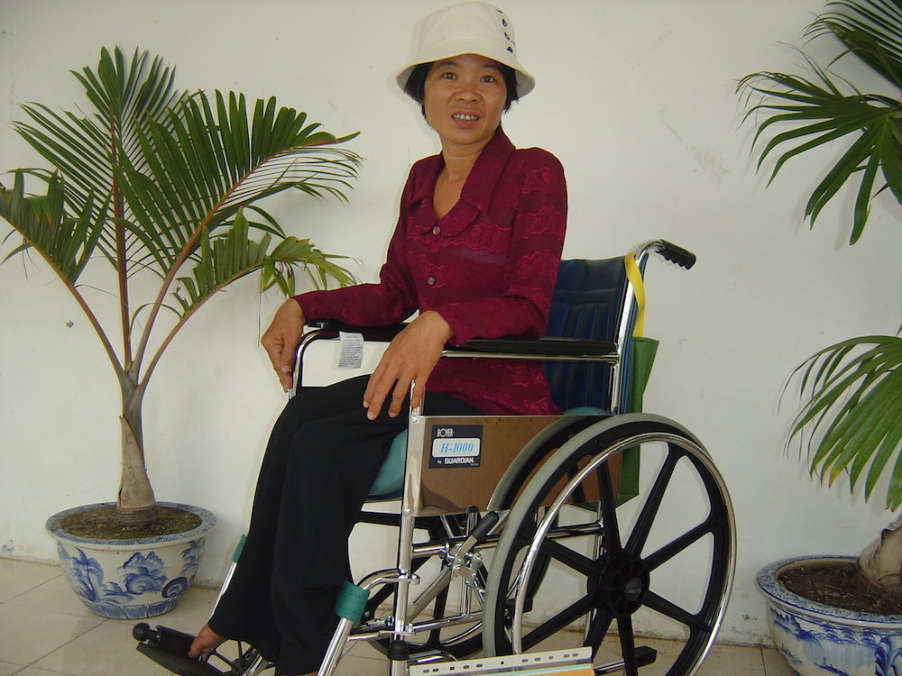 Refurbished wheelchair recipient